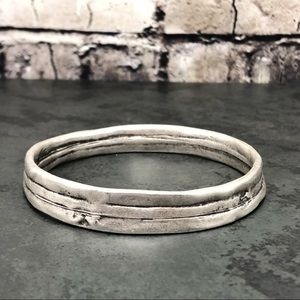 Jewelry - NEW Ethnic Boho Thick Bangle Silver-tone Bracelet